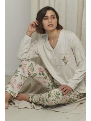 Pijama Tapeta Flower Soft MUJER ADMAS INVIERNO Crudo
