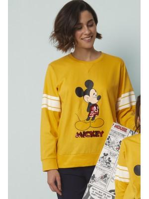 Pijama Mickey Poses MUJER DISNEY INVIERNO Mostaza Algodón