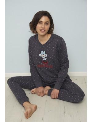 Pijama Estampado Minnie Shy MUJER DISNEY INVIERNO Marengo Algodón