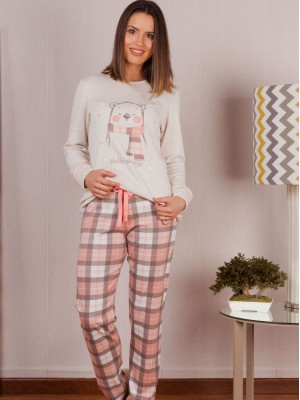 Pijama Invierno Mujer Rachas&Abreu Oso Cuadros Tallas Grandes
