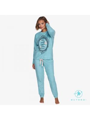 Pijama Térmico mujer Invierno MUYDEMI Azul Micropolar
