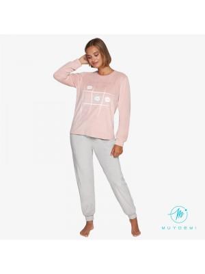 Pijama Térmico mujer Invierno MUYDEMI Rosa Microcoralina