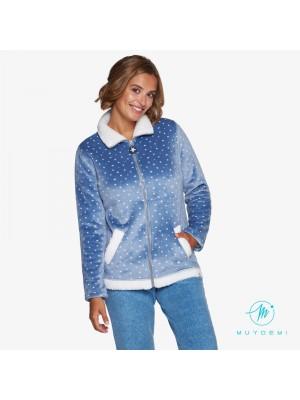 Chaqueta Invierno Mujer MUYDEMI Estrellas Azul Micromink Bolsillos