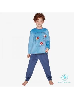 Pijama Térmico Niño Invierno MUYDEMI Azul Microcoralina