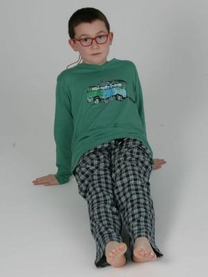 Pijama Niño Invierno PETTRUS Verde Cuadros Bolsillos Punto Algodón