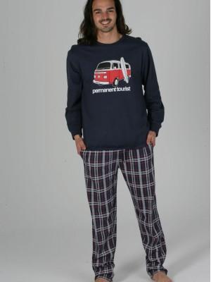 Pijama Hombre Invierno PETTRUS Azul Cuadros Bolsillos Punto Algodón