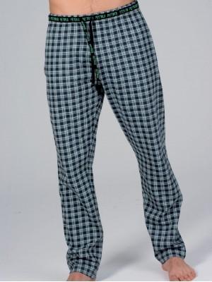 Pantalón Pijama Hombre Invierno PETTRUS Verde Cuadros Bolsillos Punto Algodón