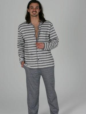 Pijama Abierto Hombre Clásico PETTRUS Gris Punto Algodón