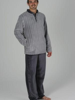 Pijama Térmico Invierno Hombre Pettrus Gris Bolsillos Coralina