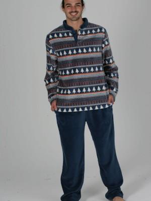 Pijama Térmico Invierno Hombre Pettrus Azul Winter Bolsillos Coralina