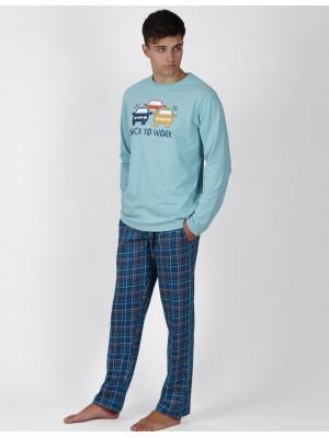 Pijama Back To Work HOMBRE ADMAS INVIERNO Azul Algodón